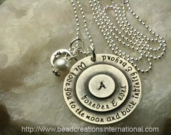 NEW We Love You To The Moon and Back Infinity & Beyond Forever and Ever  w/ One initial Hand Stamped Necklace