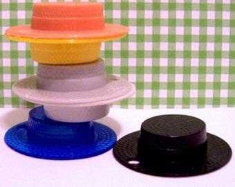 12 Plastic Straw Hat Charms