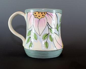 Handmade Pottery Mug, Coffee Mug, Ceramic, Grey and Pink mug SKU120-1