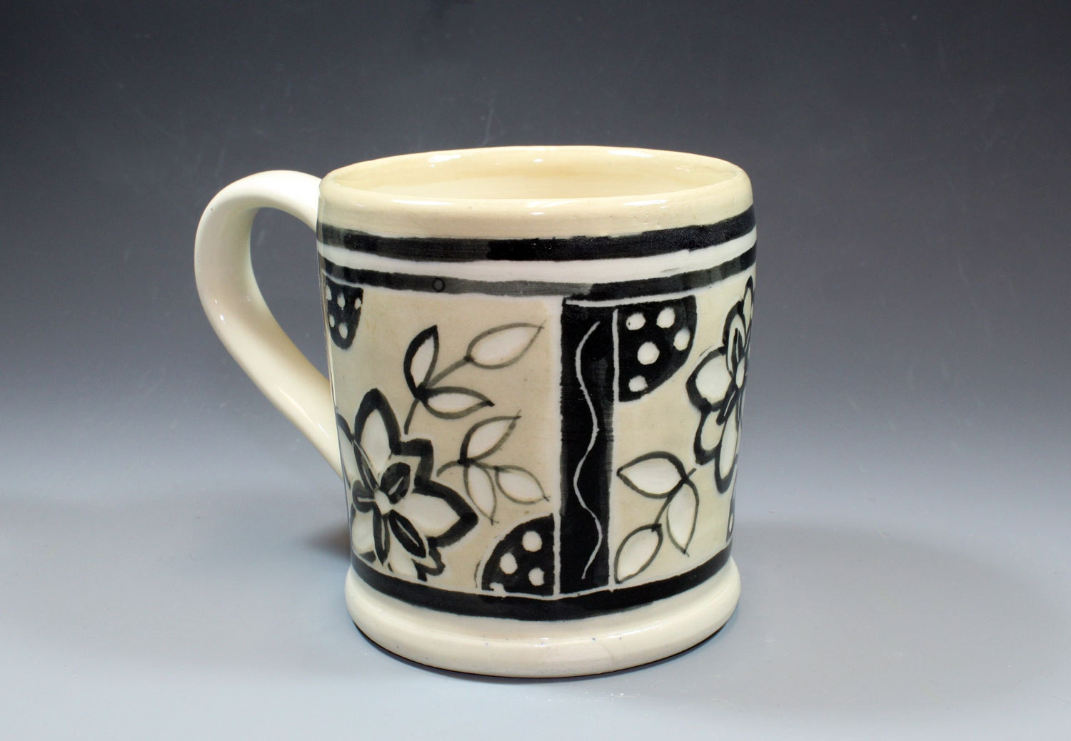 Handmade pottery mug hand painted coffee mug ivory and white for Handmade mug designs