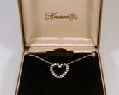 Vintage Krementz Heart Necklace 14k Gold Overlay In Original Box