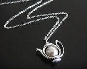 Antique Silver Teapot Necklace