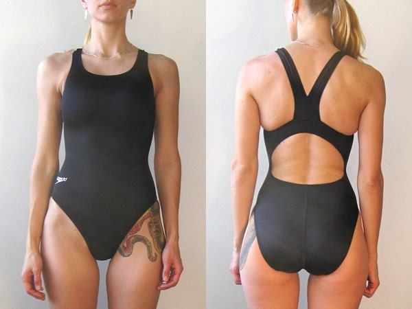Vintage Black Speedo Swimsuit One Piece Swim Suit Swimwear