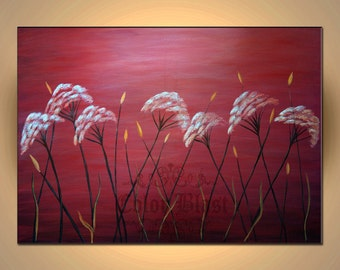 Original Oil Painting- WHITE FLOWERS- Contemporary Abstract Modern Fine Art Landscape Floral Painting - 36 inches. Free Shipping inside US.