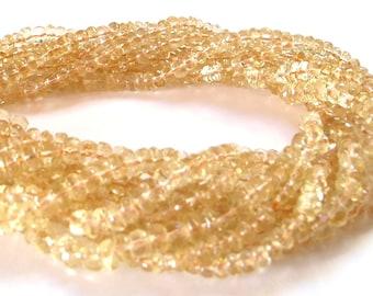 Citrine gemstone faceted rondells 14 inch strand Premium quality stones