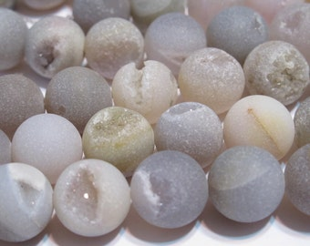 8mm Druzy type round beads matte natural dove gray color 8mm