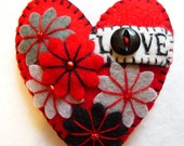 FB117 -  Hot Red LOVE Heart Shape Handmade Felt Brooch For Your Loved One - Made to order