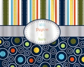 Personalized Custom MOD Stripe & Dots Shower Curtain - Any Colors