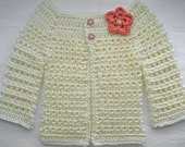 Long Sleeve Cream Cardigan with Coral Flower Embellishment