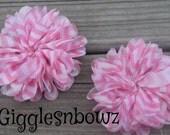 SALE!! Chiffon Flowers Set of 2- PiNK CHeVRoN Scallop Edge CHiFFoN TWIRL Flowers 2.75 inch Ballerina Twirl Flowers