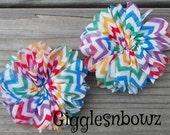 2 Chiffon Twirl Flowers- RAiNBoW CHeVRoN CHiFFoN Ballerina Flowers 2.75 inch- Fabric Flowers- Headband Supplies- Diy Supply