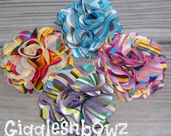 Clearance Sale!! RAiNBoW STRiPE COLLECTION- Set of FoUR Rainbow Satin/Tulle Puff Flowers