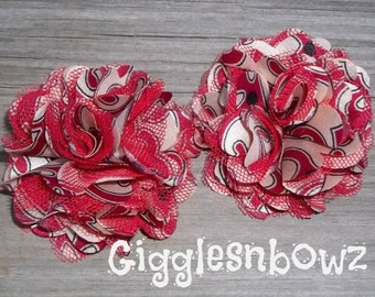 ViNTaGE SWiRL COLLECTION- PeTiTe SiZE ReD Satin/Tulle Puff Flowers- Set of 2
