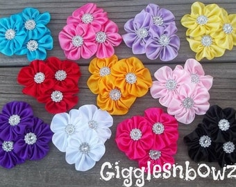 SiNGLe Embellished Satin CLuSTeR Flower- PeTiTE 2.5 inch Size- Choose Your Color