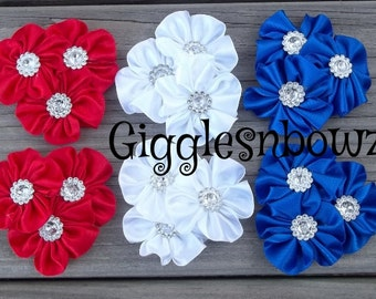 4th of JuLY PeTiTE SiZE Set of 6 Embellished Satin CLuSTeR Flowers- ReD, RoYAL, WHITE-2.5 inch Size