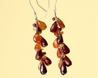 Long Cluster Earrings in with Garnet and Carnelian Red and Orange Tones