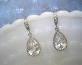 Clear Crystal Teardrop earrings,  Silver CZ Earrings - Bride Bridesmaid Bridal Jewelry
