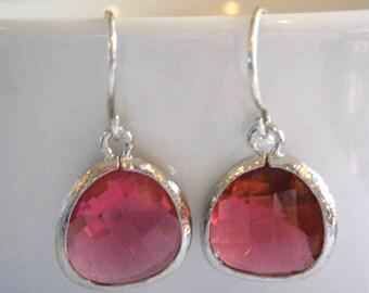 Clearance Sale, Silver Earrings, Best Friend Birthday, Ruby Earrings, Mother Gift, Sister Gift, Bridesmaid Earrings