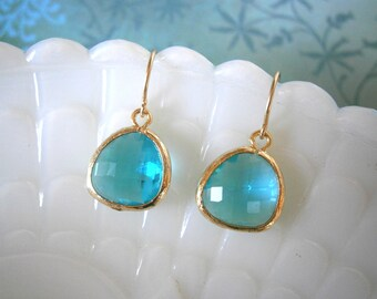 Teal Blue Glass Gold Earrings, Wedding, Bride, Bridesmaid, Best Friend, Sister, Daughter, Mother, Bridal, Beach Wedding
