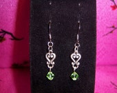 SS Shepherd Hook Earrings With Light Green Swarovski Crystals