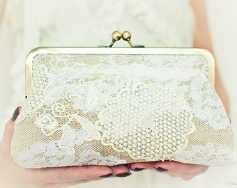 Rustic Wedding Purse Linen Cotton and Upcycled Lace...Shabby Chic Country Party Large Size Unique Clutch