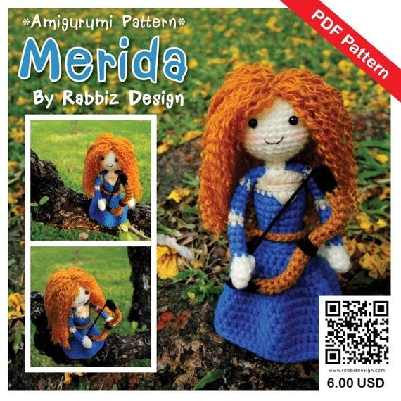 Designer Crochet Amigurumi Patterns Merida Warrior Princess : PDF Pattern Amigurumi Princess Merida Pattern