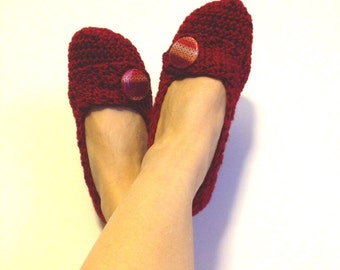 Maroon burgundy Tweed Crochet With Button  Womens Slippers, Ballet Flats, House Shoes