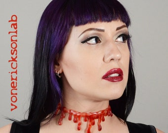 Halloween costume Necklace- Natural Bloody Drip   Necklace - Vampire Slit throat  choker  necklace Extra Drippy