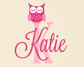 Owl Decal - Personalized Name Decal - Owl Name Decal - Custom Name Decal