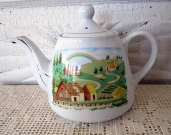 Vintage small teapot Countryside rainbow scene