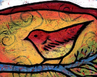 "Colorful Red Bird Gallery Wrapped Canvas Print 8"" x 8"". Bird Wall Art. Colorful Bird Art. She Heard the Desert Calling"
