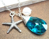 Starfish Charm Swarovski Crystal Necklace Blue Zircon Teardrop And Pearl Sterling Silver Necklace
