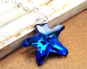 Starfish Necklace, Bermuda Blue Swarovski Starfish Necklace, nautical necklace,  Sterling Silver,  Wire Wrapped