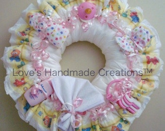Girl Diaper Wreath Pink