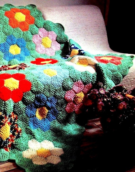 INSTANT DOWNLOAD PDF Vintage Crochet Pattern  for Grandmother's Flower Garden Afghan Throw Blanket Retro