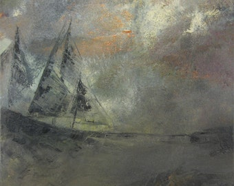 Ship in Storm - Original Oil Painting