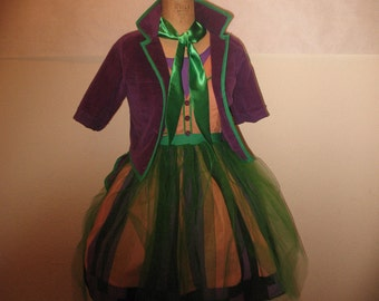 Custom Joker Cosplay Costume Patchwork Dress and Jacket with tails designed by Brittney McIntyre, created by Kimberly H. billiejoelover94
