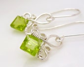 Sterling silver peridot earrings, small light lime green earrings, handmade wire wrapped august birthstone jewelry