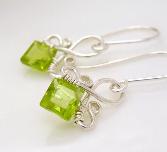 Sterling silver peridot earrings, small light lime green earrings, handmade wire wrapped august birthstone jewelry