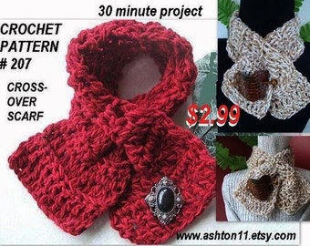 INSTANT DOWNLOAD Crochet Pattern PDF 207- 30 Minute Project -Beginner Level -Cross Over Scarf