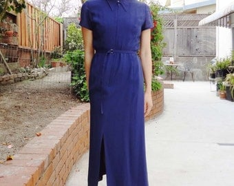 1970s Japanese navy belted maxi dress ( Sz S )