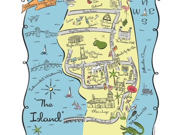Palm Beach City Map Full Color Note Card