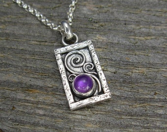 Amethyst Necklace - Tiny Rectangle Amethyst Pendant on Chain - Sterling Silver