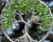 Tree of Life Pendant with Bird Nest - Recycled Sterling Silver and Birthstone - Original Design by Ethora