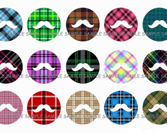 INSTANT DOWNLOAD...Mr. Mustache Plaid.... 1 Inch Circle Images Collage Sheet for Bottle Caps ...Buy 3 get 1