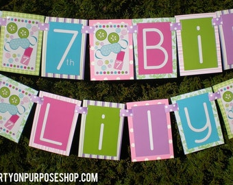 Spa Birthday Party Banner Fully Assembled Decorations | Girly Spa Party | Pink Blue Green Party | Spa Day Party | Spa Day Birthday |