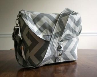 grey chevron camera bag // large cross body padded dslr + lens case // grey chevron messenger bag // ready to ship
