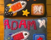 Spaceship Custom Rocket Space Felt Tooth Fairy Pillow Personalized