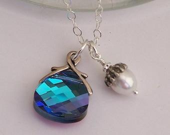 Swarovski Blue Briolette and Pearl Necklace