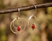 Recycled Silver Hoops within Hoops with Red Glass teardrops--Red Angels